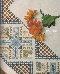 Hardanger E 2 of 2 Hardanger Embroidery, Paper Embroidery, Cross Stitch Embroidery, Crochet Doily Patterns, Embroidery Patterns Free, Embroidery Designs, Doilies Crochet, Drawn Thread, Point Lace
