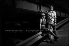 Who knew a parking garage could look so cool! Urban engagement photos in Michigan. #engagement #photography #urban #downtown #blackandwhite