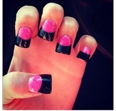 Pink Filled Acrylic Black French Tip Nails Found On Google