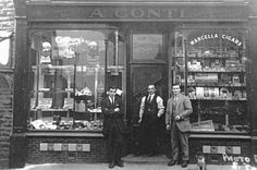 Conti brothers outside first cafe in Ystradgynlais | Peoples Collection Wales