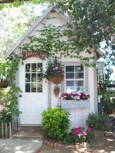 Darling Garden Shed home outdoors flowers garden yard decorate shed - Modern Cottage Garden Sheds, Home And Garden, Shed Decor, Greenhouse Shed, Backyard Sheds, Shed Homes, She Sheds, Diy Shed, Cabins And Cottages