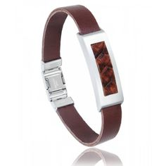 Men stainless steel Pulsera red-brown bracelets - Vanderly Trendy Bracelets, Bracelet Cuir, Stainless Steel, Belt, Arc, Men's Jewelry, Brown, Accessories, Style