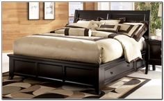 designs king size storage bed with pillows and blanket