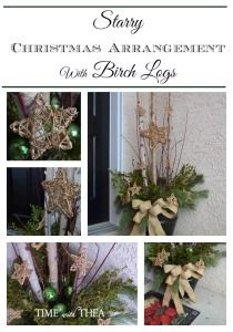 Starry Christmas Arrangement With Birch Logs ~ This outdoor arrangement will look fabulous on an outdoor porch. It is simply made with Christmas greenery, three birch logs and gold grapevine stars to give it a special touch!