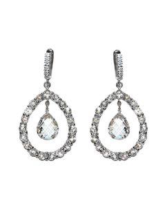 Anzie - Royale Earrings - Clear Topaz Floating Pear Silver