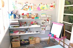Learn how to set up creativity hubs, or tinkerspaces, for your child's art supplies l TinkerSpaces: Art Pantry Studio Tour  | TinkerLab