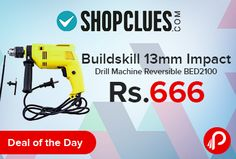 Shopclues #DealoftheDay is offering 63% off on Buildskill BED2100 13mm Impact Drill Machine with Reversible Function just Rs.666. Stellar ergonomic design that provide easy handling. Advanced technology allows precision drilling. Spirit level indicator helps in accurate drilling. Shopclues Coupon Code – SCBSTEOOLS7  http://www.paisebachaoindia.com/buildskill-13mm-impact-drill-machine-reversible-bed2100-just-rs-666-shopclues/