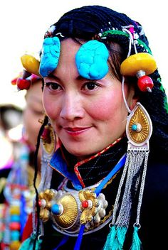 Tibetan Beauty in Regional Ceremonial Costume (2 of 2) by BetterWorld2010, via Flickr