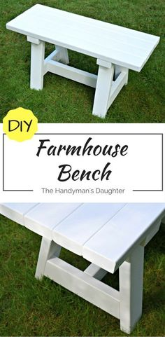 This farmhouse bench is simple to make, and only costs about $15! It's the perfect fit for a smaller dining table. - www.thehandymansdaughter.com