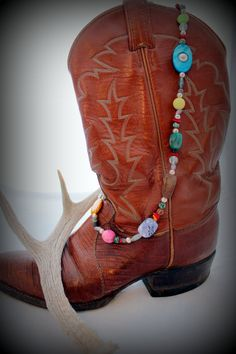 Sassy and Colorful Beaded Giddyup Necklace by jewelrybysassy Handmade Beaded Jewelry, Wearable Art, Cowboy Boots, Sassy, Chokers, Colorful, Earrings, Fashion, Ear Rings