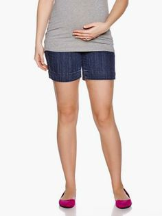 Denim #Maternity Short With Cuff from #ThymeMaternity :: #MaternityStyle #MaternityFashion