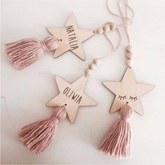 Nordic Style Cute Star Shape Wooden Beads Tassel Pendant Kids Room Decor Wall Hanging Ornament for Photography, Diy, Decor Crafts, Diy And Crafts, Crafts For Kids, Tree Crafts, Diy Decoration, Wooden Crafts, Wooden Diy, Clay Crafts, Navidad Diy