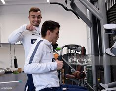 Xherdan #Shaqiri (L) and Mateo Kovacic of FC Internazionale during FC Internazionale training session at the club's training ground at Appiano Gentile on January 29, 2015 in Como, Italy.