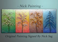 """Impressionist Four season Tree Collection Abstract Modern wall decor Oil  Impasto -The Seasons - By Nick Sag 64"""" x 20"""""""