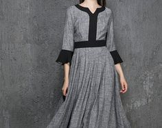 Blue dress maxi dress linen dress casual dress women by xiaolizi
