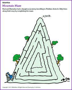 Paul and Barnabas (Maze) - Kids Korner - BibleWise @ http://www.biblewise.com/kids/images/fun/mountain_maze.pdf