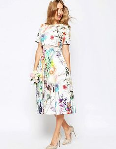 ASOS | ASOS WEDDING Crop Top Midi Prom Dress In Floral Print at ASOS