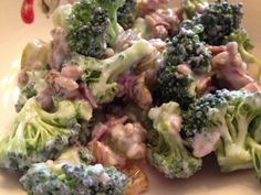 Healthy Broccoli Salad - uses Greek yogurt in the dressing instead of mayonnaise. Healthy, low calorie, gluten free and delicious!