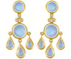 Temple St. Clair Blue Moonstone and Diamond Fringe Earrings