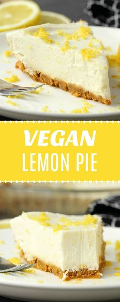 and deliciously lemony no-bake vegan lemon pie with ginger cookie crust. Made Creamy and deliciously lemony no-bake vegan lemon pie with ginger cookie crust. Made with homemade vegan condensed milk. Vegan Treats, Vegan Foods, Vegan Dishes, Vegan Lemon Cake, Cake Vegan, Vegan Cheesecake, Vegan Condensed Milk, Desserts With Condensed Milk, Patisserie Vegan