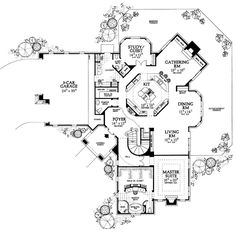 First floor house plan with large master bathroom and laundry room