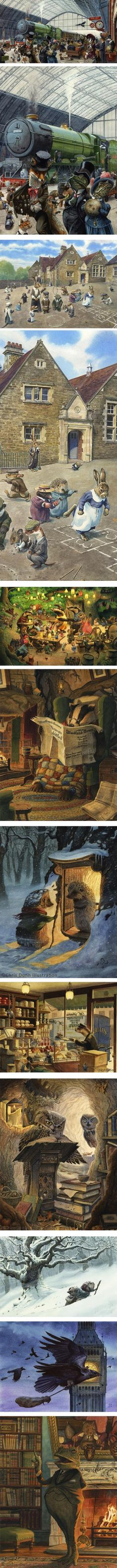 Chris Dunn, illustration, Wind in the Willows
