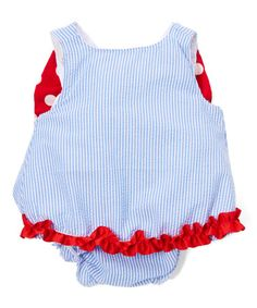 Another great find on #zulily! Blue & Red Bow-Back Top & Ruffle Bloomers - Infant #zulilyfinds