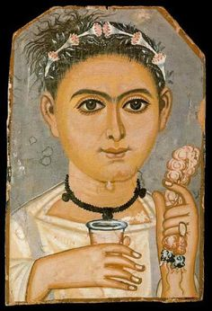 Funerary Portrait Painting of a Young Woman from the Roman Period and she holds a glass of red wine and a rose petal wreath.