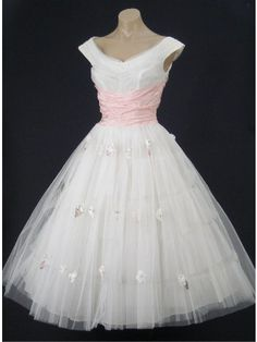 Retro Vintage 50s White and Pink Tea Length Wedding Prom Party Dress