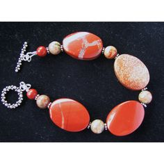 SALE 30 OFF, Red Jasper Necklace, Bracelet Earrings, Semi Precious Gem... ($83) ❤ liked on Polyvore featuring jewelry, stone jewellery, red jewellery, gemstone jewellery, gemstone jewelry and semi precious stone jewelry