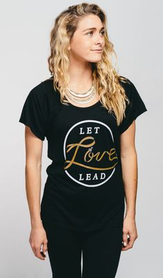 """Pair a chunky necklace with this #Sevenly """"Let Love Lead"""" Raglan and for a look that gives back! Help provide a service dog to children with disabilities with each purchase."""