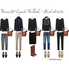 Minimalist Wardrobe - Black Sweater by bluehydrangea on Polyvore featuring Madewell, J.Crew, Gap, Siviglia, MANGO, Cole Haan, H&M, Adrienne Vittadini, Coach and Just Female