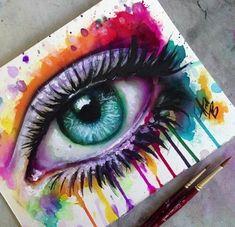 Malerei Acryl Porträt Kunstwerke Super Ideen - Houses: drawings and paintings thereof - Cool Art Drawings, Pencil Art Drawings, Colorful Drawings, Art Drawings Sketches, Eyes Artwork, Acrylic Artwork, Eye Painting, Eye Art, Amazing Art