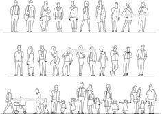 Fashionable People - CAD Blocks, free dwg file. Human Vector, Doodle People, Cut Out People, Sketch Poses, Body Sketches, Cad Blocks, Cad Drawing, Technical Drawing, Entourage
