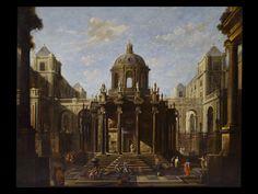 """Viviano Codazzi (Bergamo, c. 1603 - Roma, 1670) """"Architettura con figure"""", olio su tela, cm 163x208."""