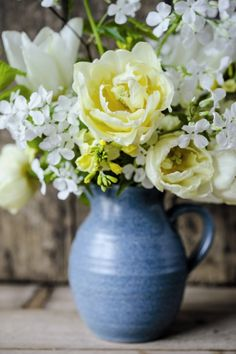 beautiful blue and white home grown flower arrangement