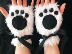 Cute White Furry Panda Polar Bear Arctic Cat Fox Wolf Paw Print Fingerless Gloves Wrist Warmers Kawaii Halloween Winter