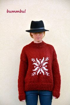 Knit sweater for women, Claret sweater, hand knitted sweater with snowflake , Christmas, M size ,3/4 sleeves,  womens clothing - pinned by pin4etsy.com