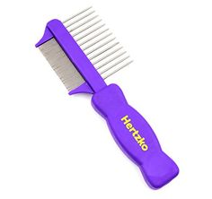 Double Sided Flea Comb by Hertzko  Densely Packed Pins Removes Fleas Flea Eggs and Debris and the Wider Spaced Pins Detangles and Loosens Dead Undercoat  Suitable For Dogs And Cats -- You can find more details by visiting the image link.