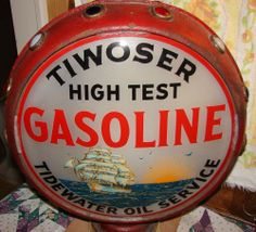 graphic extremely rare tiwoser gas pump globe on original jewelled metal body