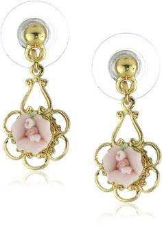 1928 Jewelry Porcelain Rose Gold and Pink Drop Earrings - 1928, Drop, Earrings., Gold, Jewelry, Pink, Porcelain, Rose http://designerjewelrygalleria.com/1928-jewelry/1928-earrings/1928-jewelry-porcelain-rose-gold-and-pink-drop-earrings/