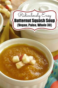 Spicy Butternut Squash Apple Soup Recipe is Vegan, Paleo, Whole 30 and so very easy to make. The trick is to cook the squash in the slow cooker first. No cutting, poking or water required! #butternutsquashsoup
