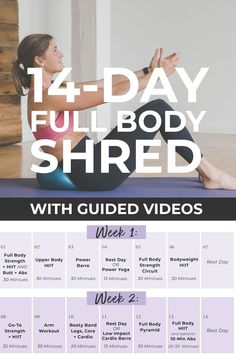 Get fit at home with this FREE Workout Plan: Full Body SHRED at home! All you need is a set of dumbbells! 14 Day Workouts, Upper Body Hiit Workouts, Free Workout Plans, Full Body Workout Routine, Shred Workout, Mommy Workout, Best Cardio Workout, Daily Home Workout, Workout Challenge