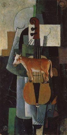 Vaca y violín, 1913