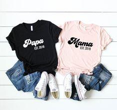 Personalized Mama, Papa, Grandma, Grandpa, Auntie, and Uncle Matching Shirts - Soft Unisex Cotton Blend