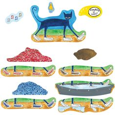 Follow Pete the Cat, the coolest cat ever, as he takes a journey in his new white shoes. Use these brightly colored felt pieces to retell the story of Pete the Cat: I Love My White Shoes, as Pete disc