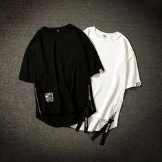Streetwear Cotton Men T Shirt Half Length Tee Shirt Homme Hip Hop Ribbons Side Zipper Short Sleeve Men T Shirt Hip Hop, Cheap T Shirts, Long Jackets, Shirt Price, Half Sleeves, Streetwear, Shirt Designs, Tee Shirts, Men Casual