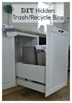 Clever kitchen storage for garbage and recycle bins. | chatfieldcourt.com