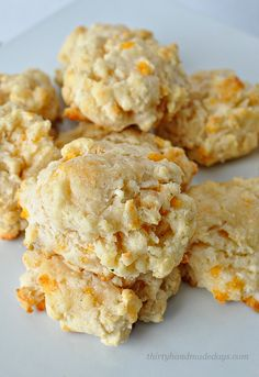 Melt In Your Mouth Cheddar Biscuits-  these biscuits are amazing! And simple to make from Thirty Handmade Days