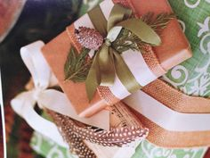 Christmas gift wrapping with burlap